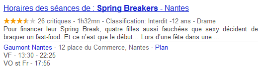 Spring Breakers sur Google